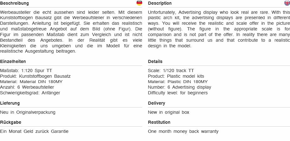 1:120 TT Modellbogen Werbeaufsteller Aufsteller Bausatz Epoche V Modellland