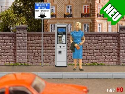 1:87 Spur H0 Parkscheinautomat + Verkehrszeichen