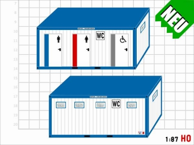 1:87 Spur H0 Bausatz WC Toiletten Container