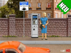 1/87 Track H0 Parking ticket machine + traffic signs