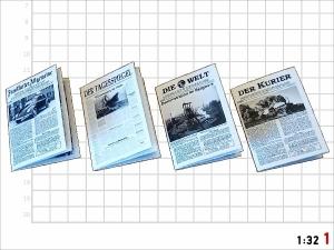 1:32 Spur 1 Bausatz 4x Zeitung Epoche lll