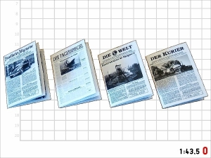 1:43 Spur 0 Bausatz 4x Zeitung Epoche lll